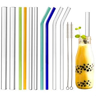 Youngever 10 Pack Reusable Glass Straws Assortment, 9 Inch Long and 3 Different Widths 14mm, 10mm, 8mm, Straight and Bent, Eco Friendly with Brush