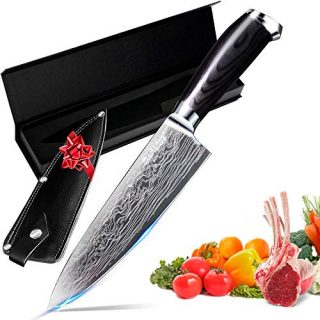 8 Inch Multi Purpose Chef Knife Razor Sharp Kitchen Knife for Carving, Slicing & Chopping Colour Wood Great Ergonomic Handle Professional Cooking Kitchen Knives