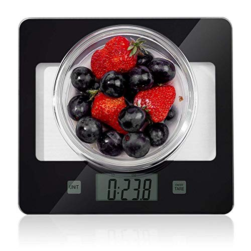 Kitchen Food Scale, Digital Multifunction Accurate Postage Scales with Large LCD Display for Baking and Cooking, 11lb Capacity by 0.1oz, Tempered Glass Surface