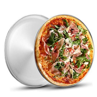 Stainless Steel Pizza Pan 13.39 inch - Deedro Round Pizza Tray Pizza Baking Sheet, Healthy Pizza Baking Pan Pizza Serving Tray Crisper Pan, Dishwasher Safe, 2 Pack