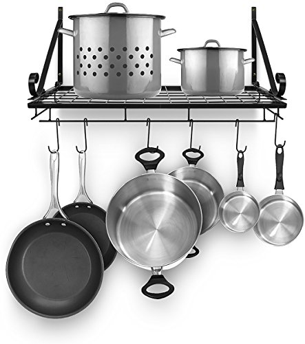 Sorbus Pots and Pan Rack — Decorative Wall Mounted Storage Hanging Rack — Multipurpose Wrought-Iron shelf Organizer for Kitchen Cookware, Utensils, Pans, Books, Bathroom (Wall Rack - Black)