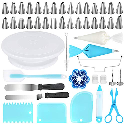 Kootek 103 Pcs Cake Decorating Tools Kit Baking Supplies Set with Revolving Cake Turntable, Cake Leveler, Cookie Cutter, Piping Tips, Frosting Pastry Bags, Icing Spatula Smoother, Cake Scrapers
