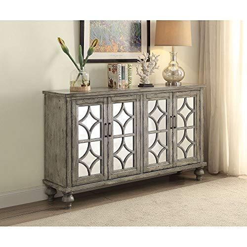 "Knocbel Vintage Wood Console Table Buffet Sideboard with 4 Mirrored Glass Doors, Storage Cabinet for Home Kitchen Dining Room, Fully Assembled, 60"" L x 15"" W x 37"" H (Weathered Gray)"