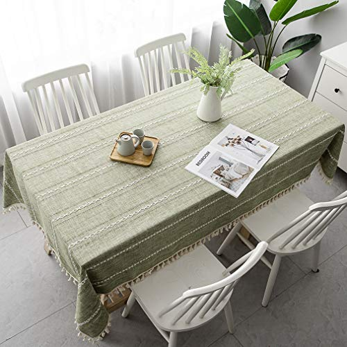 Pahajim Table Cloth Cotton Linen Tablecloth Wrinkle Free Stitching Tassel Tablecloth Rectangle Table Cloth for Dinning Kitchen Tabletop Decoration (Light Olive Green, Rectangle/Oblong,55 x 71 Inch)