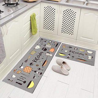 """Carvapet 2 Piece Non-Slip Kitchen Rug TPR Non-Skid Backing Mat for Doorway Bathroom Runner Rug Set, Grey Kitchen Design (17""""x48""""+17""""x24"""")"""
