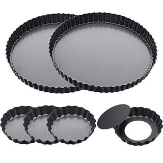 9 Inch 2 Pack and 4 Inch 4 Pack Tart Pan with Removable Bottom Quiche Pan Non-Stick Pie Tart Baking Dish Pan Carbon Steel Quiche Pan, FDA Approved Round Tart Pan for Kitchen Cooking Baking