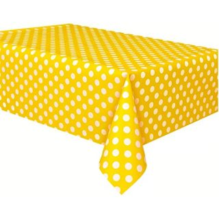 """Vpang 2 Pcs Polka Dot Plastic Tablecloth Disposable Table Cover Thickened Rectangle Tablecover for Kitchen Picnic Wedding Birthday Party Catering Events, 54""""x108"""" (Yellow-White dot)"""