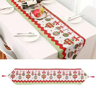 WIOR Christmas Table Runner Kitchen Runner Cloth Soft & Comfortable Xmas Dinner Table Runners with Tassel for Home Christmas Party Decoration (70 14inch)
