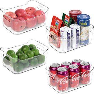 Refrigerator Organizer Bins - 4 Pack Plastic Food Organizer with Handle BPA Free Clear Storage Bins for Fridge, Freezer, Cabinet, Kitchen, Shelf, Table, Bathroom, Pantry Organization and Storage