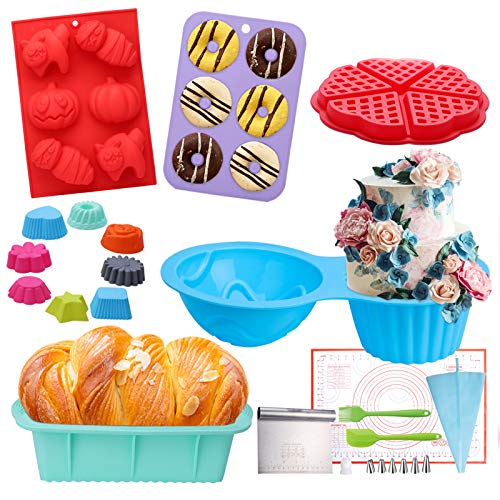 Nonstick Silicone Bakeware Set with Donut Pans