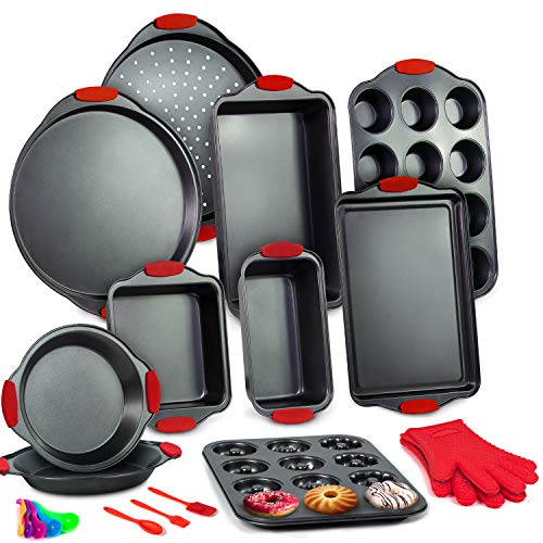 Nonstick Bakeware Set with Grips includes Nonstick Cake Pans/Muffin Pan/Cupcake Pan,Baking Pan Set with Red Handle,Carbon Steel