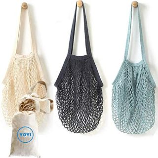 YOYI Reusable Produce Bags,Cotton Mesh Grocery Bags,Vegetable Bag,Washable, Portable,100% Cotton Mesh String Organizer Shopping Bag Long Handle Net Tote(3+1 Pack)