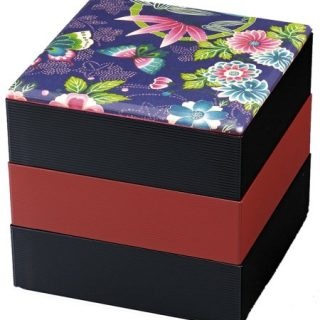 "Lacquer Three Tiers Stack""Jubako"" Bento Box with Flower Design"