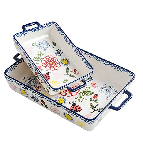Ceramics Rectangular Baking Dish Set, 2-piece, Baking Pans for Cooking,Cake dinner, Kitchen, Banquet and Daily Use, Stoneware Hand-painted Lasagna Pan,10.63 x 7.48 Inch and 7.48 x 5.12 Inch
