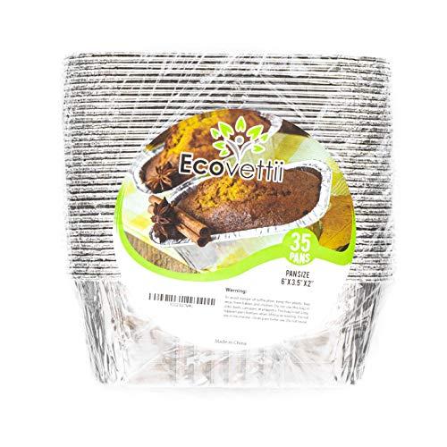 "Mini Aluminum Loaf Pans (35 PACK) - Mini Loaf Baking pans - Disposable Aluminum Foil 1lb Small Bread Tins 6"" X 3.5"" X 2"""