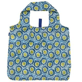 Reusable Grocery Bags for Shopping - Lana Blue Pattern Blu Bag - Machine Washable, Foldable, Packable Tote - Large Handles - Heavy Duty and Lightweight - Zippered Top Pouch - Rockflowerpaper
