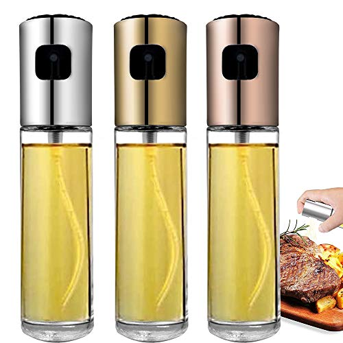 YOOUSOO Oil Sprayer Bottle Set for Cooking, 3 Pcs Food-Grade Grilling Olive Oil Glass Bottle 100ml for Cooking, Bread Baking, BBQ and Kitchen