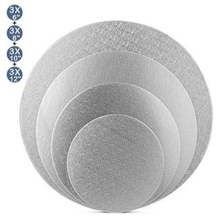Tebery 12 Pack Silver Reusable Cake Drums Round Cake Circles 1/4 Inch Thick Cake Base Cardboard - 6 + 8 + 10 + 12 Inch