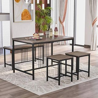 P PURLOVE 4 Piece Wooden Dining Table Set with Metal Frame Wood Kitchen Table Set with One Bench and Two Stools Dining Room Table Set for 4,Brown