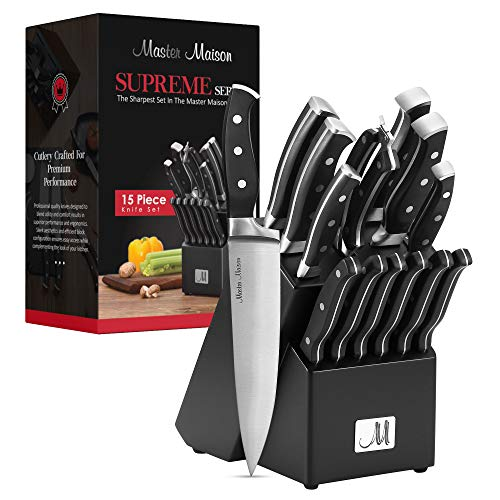 15-Piece Premium Kitchen Knife Set With Wooden Block   Master Maison German Stainless Steel Cutlery With Knife Sharpener & 6 Steak Knives (Black)