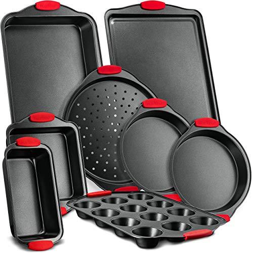 8-Piece Carbon Steel Nonstick Bakeware Baking Tray Set