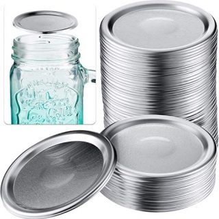 24 PCS Wide Mouth Mason Jar Lids Leaf Proof Split-Type Canning Jar Caps with Silicone Seal Rings (Silver 86mm)
