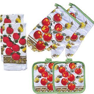 Apple Decor Printed Kitchen Linen Set Includes 2 Towels Pot Holders
