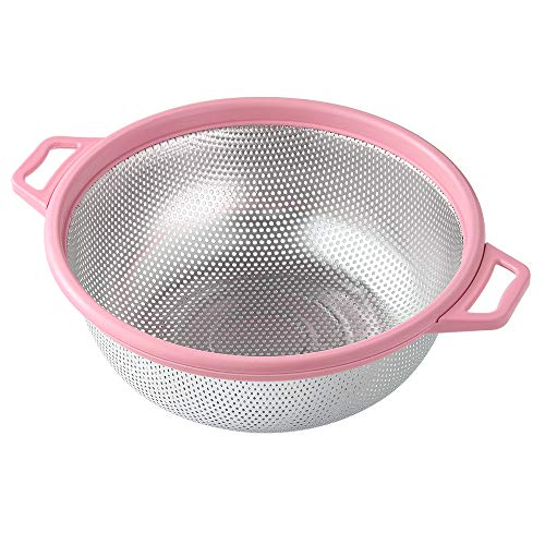 Large Metal Pink Strainer for Pasta