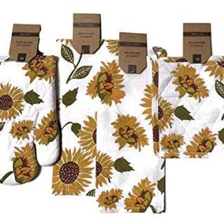 Celebration Sunflower Theme Kitchen Linen Bundle 1 Quilted Pot Holders, 1 Quilted Oven Mitt & 2 Kitchen Towels