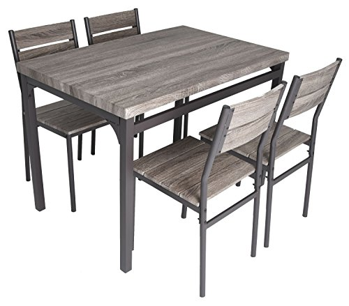Rustic Grey Wooden Kitchen Table and 4 Chairs