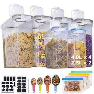 Cereal Containers Storage Set, Airtight Food Storage Containers for Pantry BPA Free Plastic Chips Container Extra Large Kitchen Pantry Storage Container for Flour Snacks Nuts Baking Supplies, Set of 6
