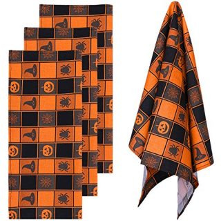 Aneco 4 Pack Halloween Plaid Dish Towels Oversized 18 x 28 Inches Cotton Kitchen Black Orange Plaid Dish Towels Halloween Dish Towels Tea Towels for Halloween Decorations