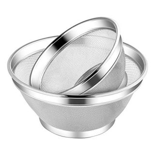 Greenway-Kitchen upgraded stainless steel colander and strainer- Unique high surround design With 2 pack set- 1.9/3.5 Quart