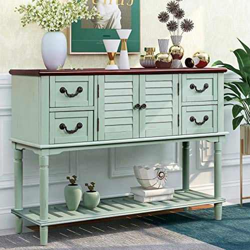 P PURLOVE Console Table for Entryway Buffet Table Sideboard Sofa Table with Shutter Doors and 4 Storage Drawers for Living Room Kitchen (Light Blue)