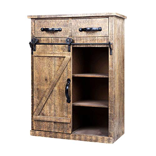 Wood Accent Cabinet with 1 Door and 3 Shelves - Farmhouse Sideboard Buffet Storage Cabinet for Kitchen,Barnwood Brown