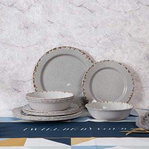 Melamine Dinnerware Set-12 Pcs kitchen Dishs Set, Plates and Bowls Set for 4, Dishwasher Safe(Light Grey)