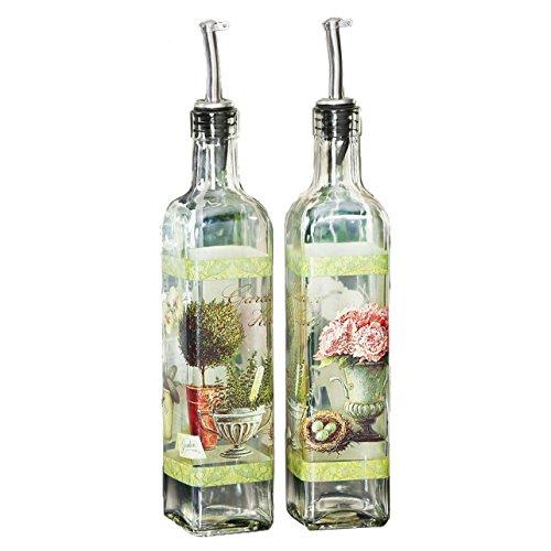 CEDAR HOME Olive Oil Bottle Set Glass Dispenser Vinegar Cruet 17oz. with Stainless Steel Leak Proof Pourer Spout for Cooking or Salad Dressing, 2 Pack, Green