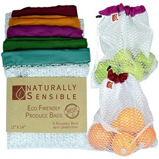 "Reusable Produce Bags The Original Eco - Friendly See Through and Washable Soft Premium Lightweight Nylon Mesh Large 12""X14"" Set of 5 (Red, Yellow, Green, Blue, Purple) By Naturally Sensible"