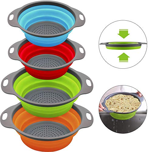 QiMH Collapsible Colander and Strainer Set of 4, 2 PC 4 Quart(1 gal) and 2 PC 2 Quart(0.5 gal), Food-grade Sturdy Plastic Base - Round Space-save Silicone Kitchen Foldable Strainer for Pasta, Veggies