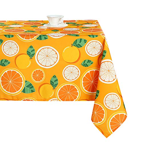 """Joyfol Day Rectangle Tablecloth,Fruit Lemon Style Oxford Table Cloth,Waterproof Decorative Table Cover for Kitchen Dinning Room,Tabletop Decoration (54"""" x 108"""",Orange)"""