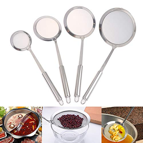 37YIMU Set of 4 Stainless Steel Kitchen Colander, Professional Sieve Colander with Long Handle, Fine Mesh Strainers for Kitchen, Cooking, Baking, Cooking, Flour Preparation