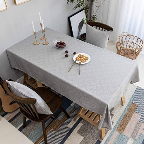 Home Brilliant Grey Tablecloth Solid Farmhouse Checker Table Covers for Party Kitchen Indoor Outdoor Table Clothes for Dining Table, 52x86 inch, Light Gray