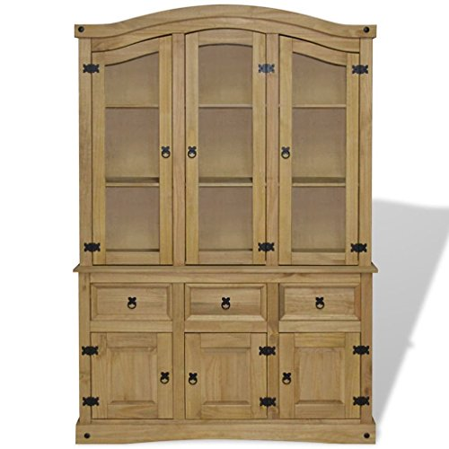 Extaum Buffet & Hutch Mexican Pine Hutch Cabinet,Sideboard,Wood Display Cabinet for Kitchen Dining Room Living Room Home Furniture