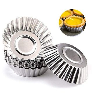 30PCS Egg Tart Molds Silver Aluminum Tart Pan Reusable Cupcake Tart Egg Mini Muffin Pan Cookie Molds for Baking and Kitchen Baking Tools