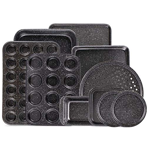 Fit Choice 10-Piece Nonstick Baking Set With Baking Pan, Cookie Sheet Set, Cake Pan, Muffin Pan, and Pizza Pan, 10-Piece Set Nonstick Bakeware Sets, Ceramic Coated Black (Ceramic Coated Black)