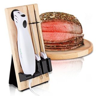 Nutrichef PKELKN16 Portable Electrical Food Cutter Knife Set with Bread and Carving Blades, Wood Stand, One Size, White (Pack of 4)