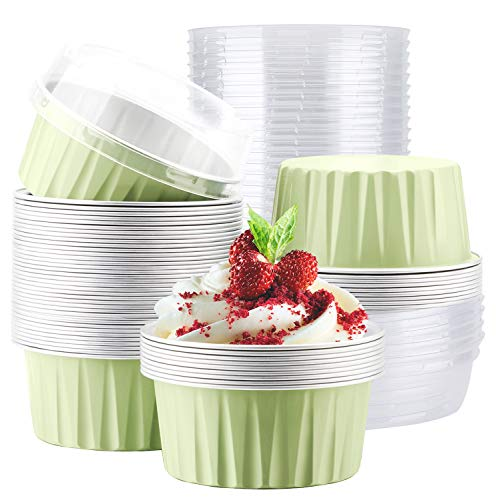 Disposable Ramekins, Eusoar 50pcs 5oz 125ml Cupcake Liners, Aluminum Foil Muffin Liners Cups with Lids, Cupcake Holder, Disposable Aluminum Foil Cupcake Baking Cups Holders Cases Boxes Pans with Lids