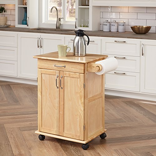 Paneled Door Kitchen Cart with Natural Finish