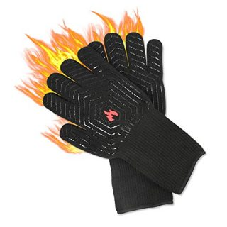 LDYS Oven Mitts High Temperature Protection Tools, Used for Kitchen Barbecue Oven Microwave Baking Protective Gloves Temperature Resistance up to 1472°F (800°C), Black
