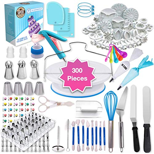 Shpebs Cake Decorating Supplies | Cake Decorating Kit Baking Supplies Set For Beginners | Rotating Cake Turntable Stand | Icing Piping Tips & Bags | Frosting & Pastry Tools (300 Pcs)